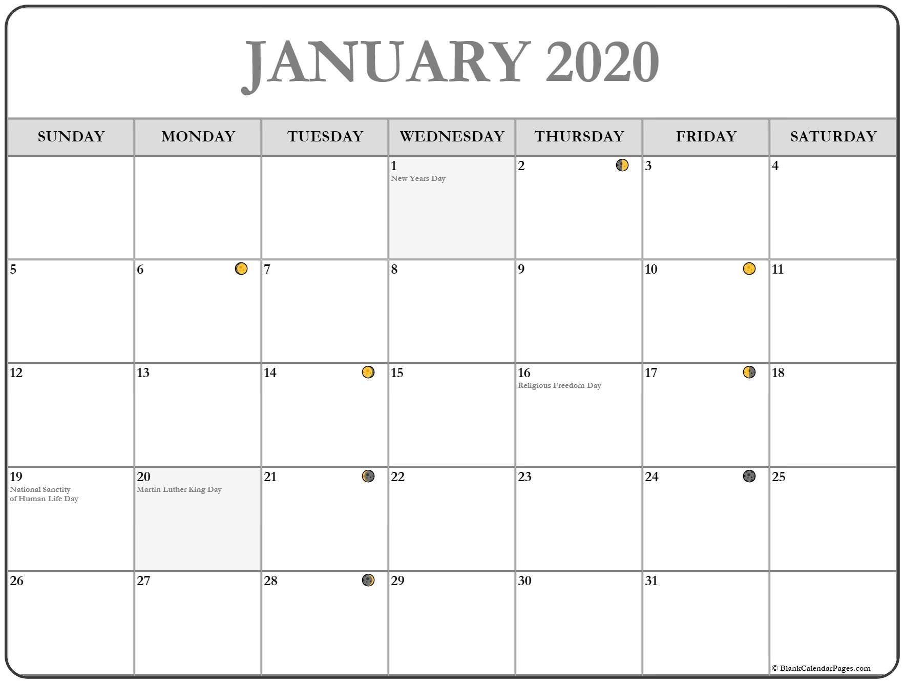 January 2020 Calendar Moons Printable January 2020 Moon Calendar #january #january2020