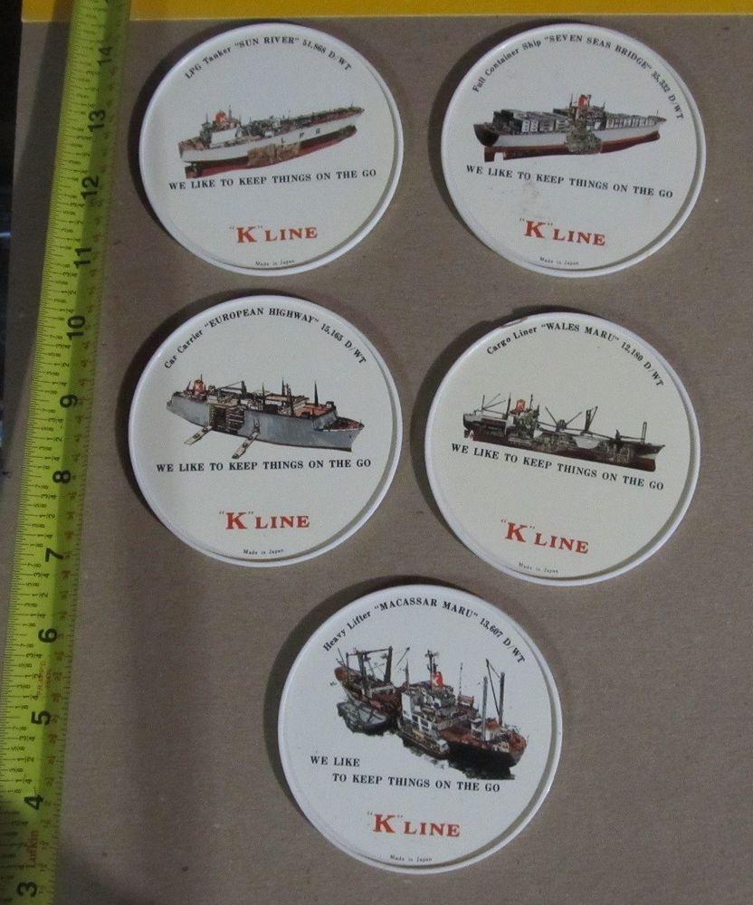 VINTAGE K LINE PLASTIC COASTERS MADE IN JAPAN SHIP SHIPS