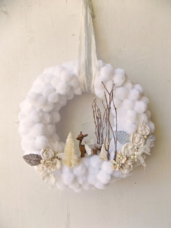 Items similar to Rustic Christmas Wreath, Country Chic Winter Decor, White Christmas Wreath, Woodland Creatures Christmas Wreath, Pompom Wreath on Etsy #rusticchristmas