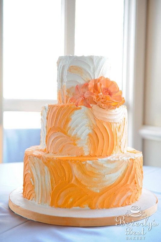 Rough Iced Ombre Wedding Cake with Fondant Flowers by Beverly's Best Bakery