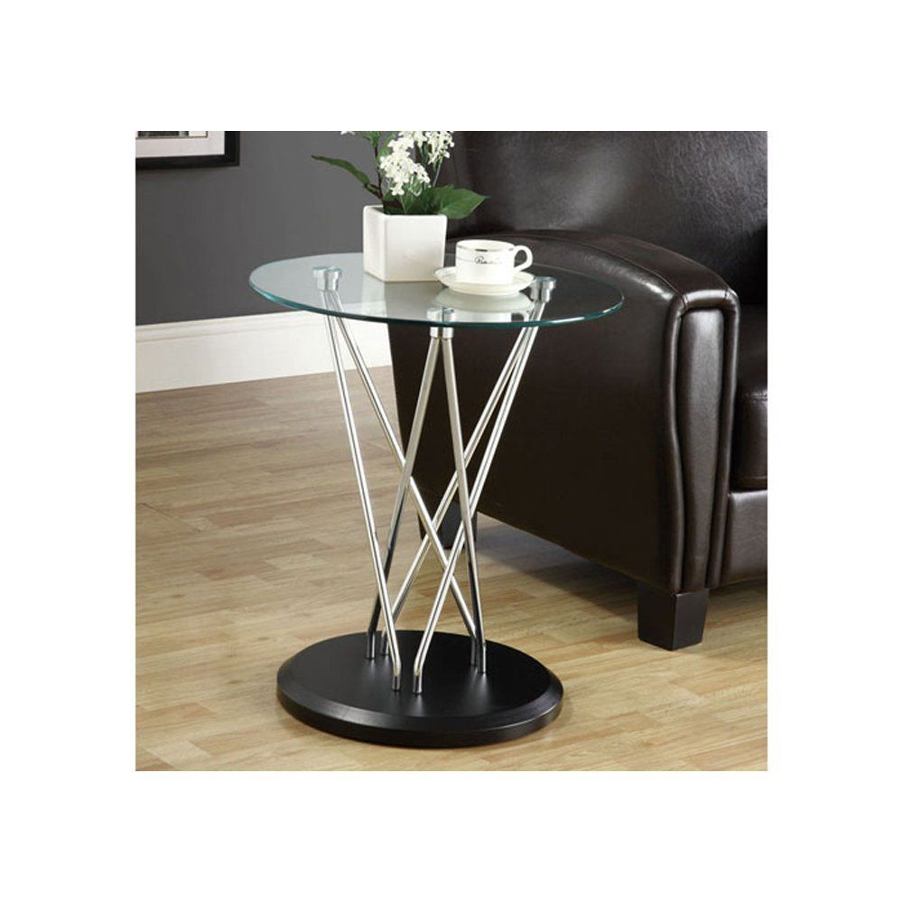 Monarch Specialties Base Accent Table Tempered Glass Chrome Metal