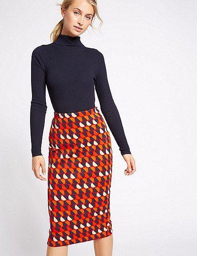 029402f6a28c Geometric Print Jersey A-Line Midi Skirt | Marks & Spencer London ...