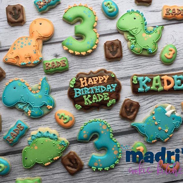 Dinos For Kades Birthday Madriscookiekitchen Decoratedcookies Dinosaur Grandrapidsmi Grandrapids