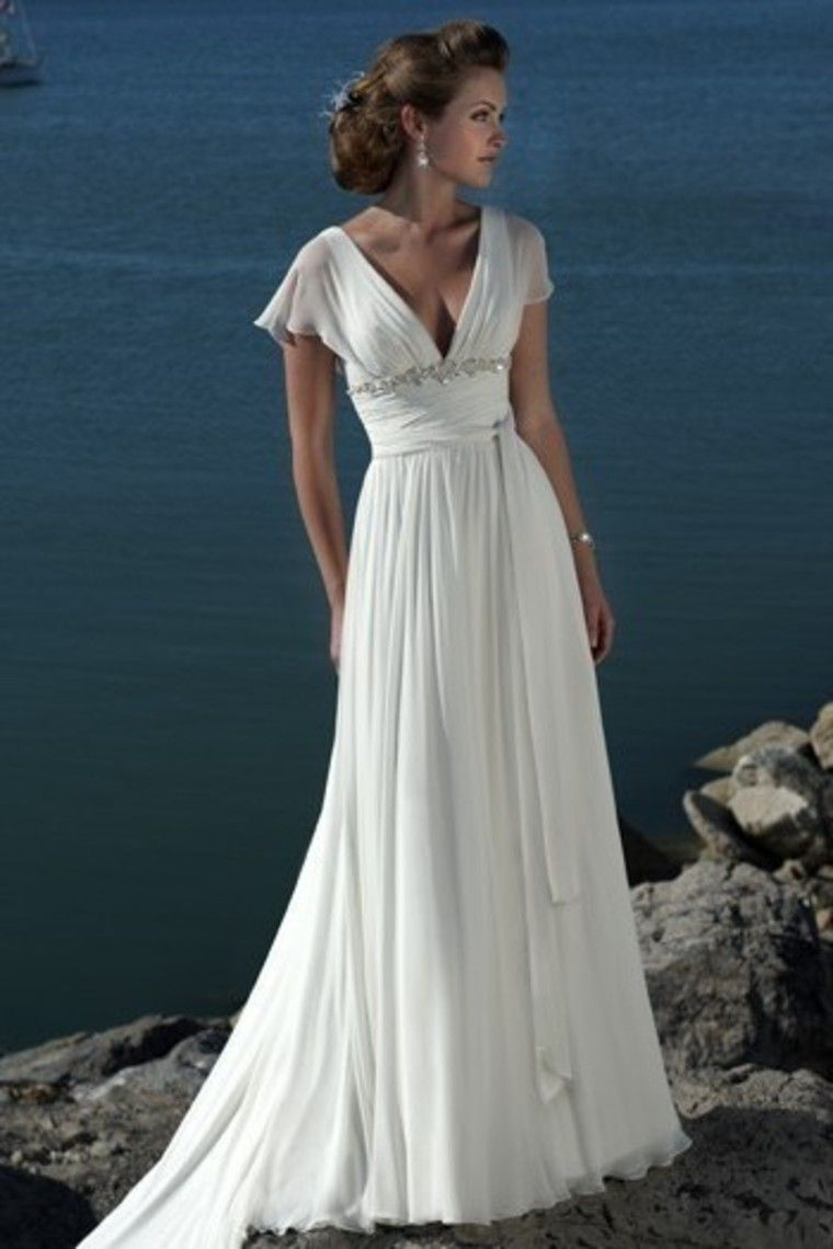 Classic empire waist v neck sweep train chiffon summer beach wedding