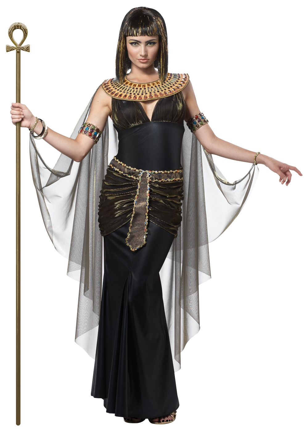 64b317334b420 Details about Deluxe Black Cleopatra Egyptian Queen Ladies Fancy ...