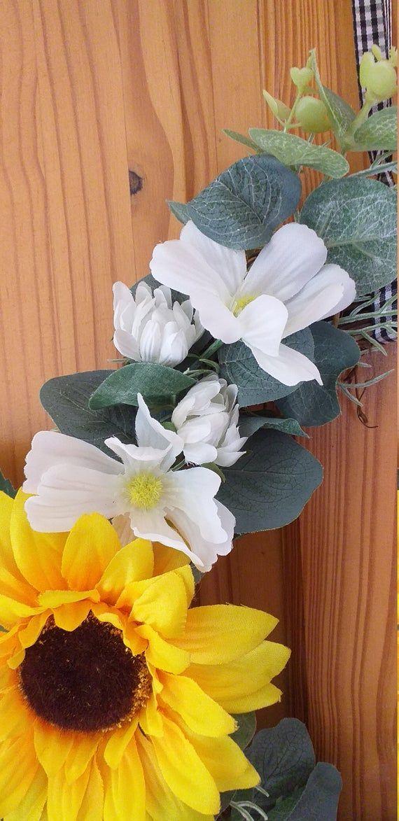 Photo of Rattan Grapevine sunflower wreath, spring wreath, summer wreath