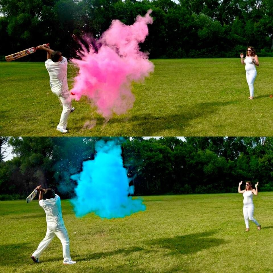 Unique And Colorful Gender Reveal For Twins Expecting Mommy Ashley Pitches Powder Filled Gender Reveal Photography Baseball Gender Reveal Gender Reveal Party
