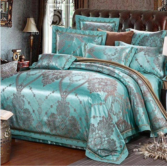 Luxury 4 6 Pieces Jacquard Luxury Bedding Set Queen King Size Bed Set Imitated Silk Photos - Cool luxury king bedding Trending