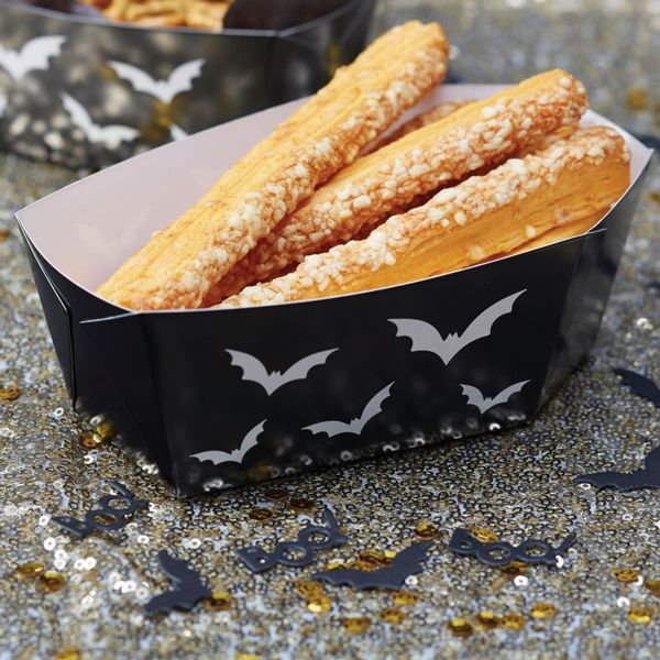 black halloween coffin food tray trick or treat