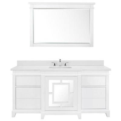 Luxe Wallingfold 66 in. Vanity in White with Quartz Vanity Top in White and Mirror-79513 - The Home Depot