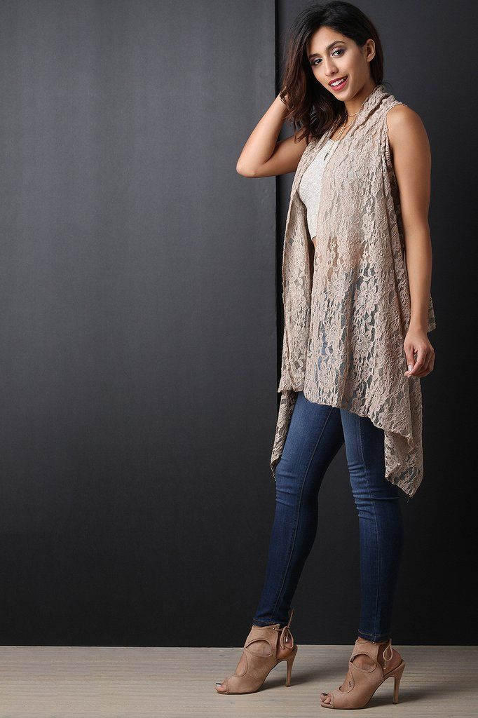 Crochet Lace Open Front Sleeveless Long Cardigan | Lace, Acrylics ...