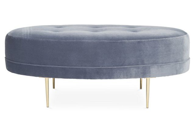 Avalon Ottoman, Delft Blue Velvet/Gold | Home: Built Ins & Furniture ...