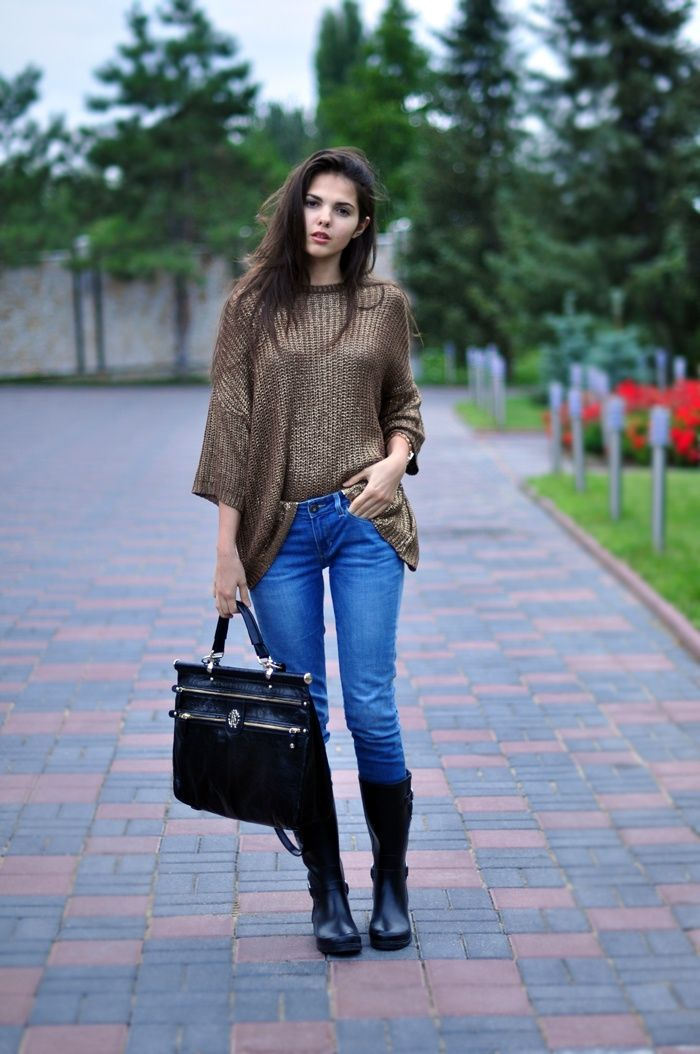 Women's Brown Oversized Sweater, Blue Jeans, Black Rain Boots ...