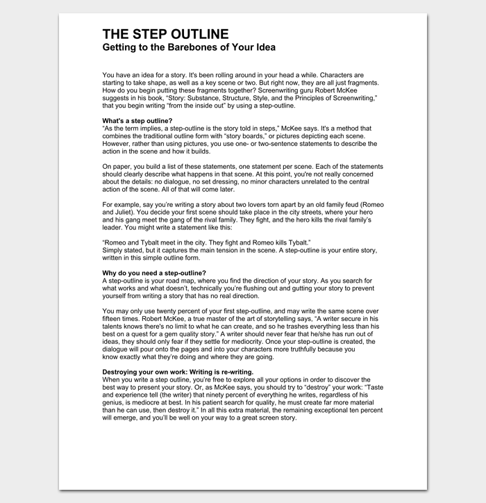 Script Outline Template 12 Examples For Word Pdf Format Outline Story Outline Words