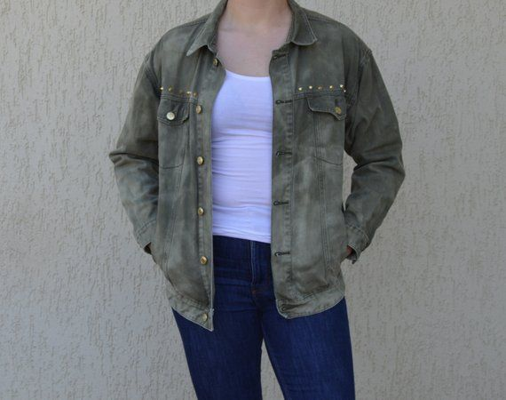 Denim Vintage Khaki Jacket With Spikes Woman Western Jeans Wear Oversize Green Punk Coat Khaki Jacket Western Jeans Jackets