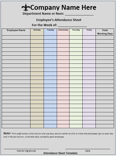 Meeting Attendance Sheet Stationary Templates Pinterest - sample attendance sheet template