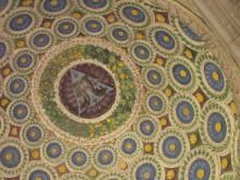Santa Croce-The Pazzi Chapel glazed terracotta dome ceiling by Luca della Robbia. Florence, Italy
