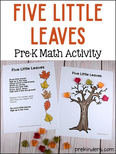 Five Little Leaves Math: Simple Preschool Subtraction Game - PreKinders