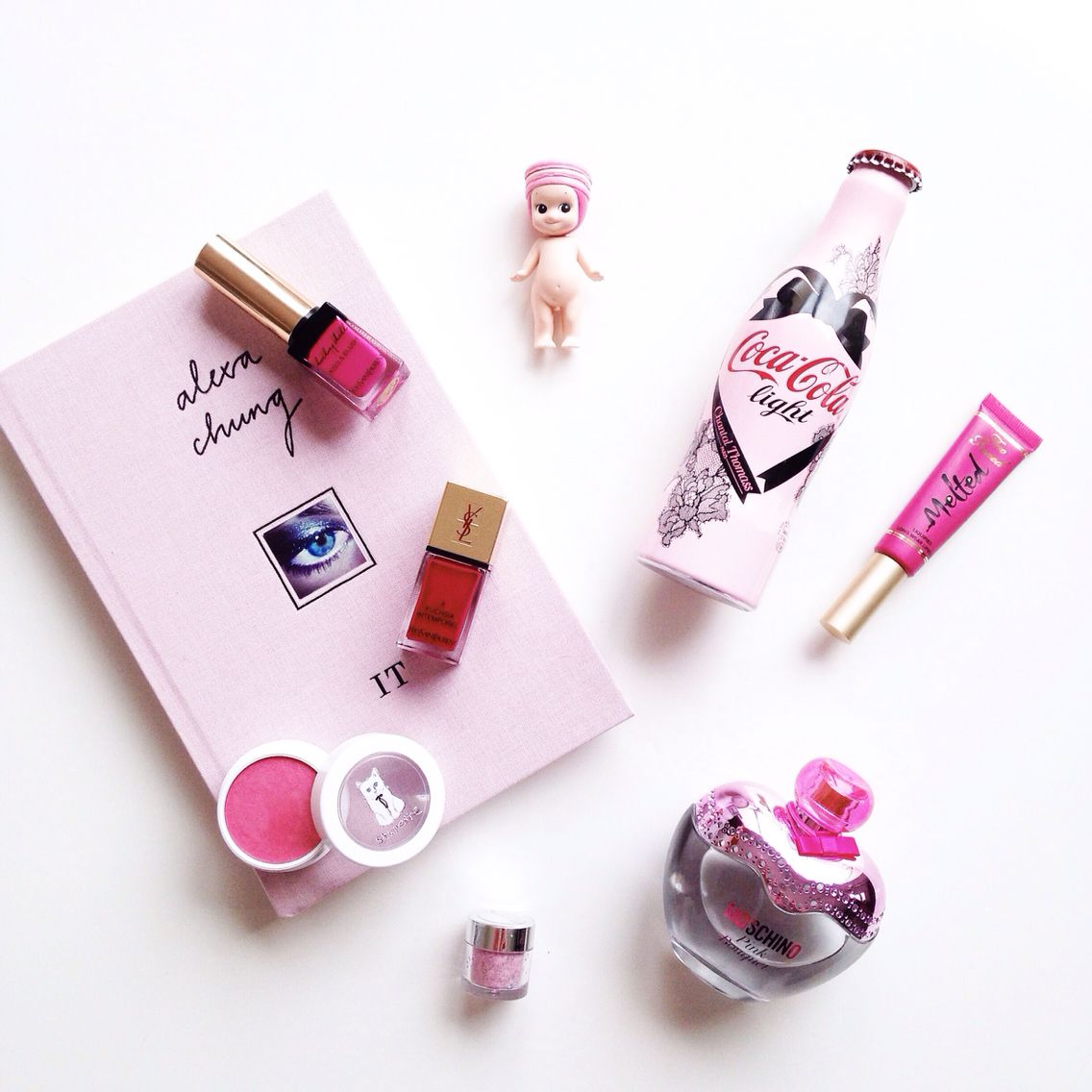Think pink.   #pinkflatlay #beauty #pink