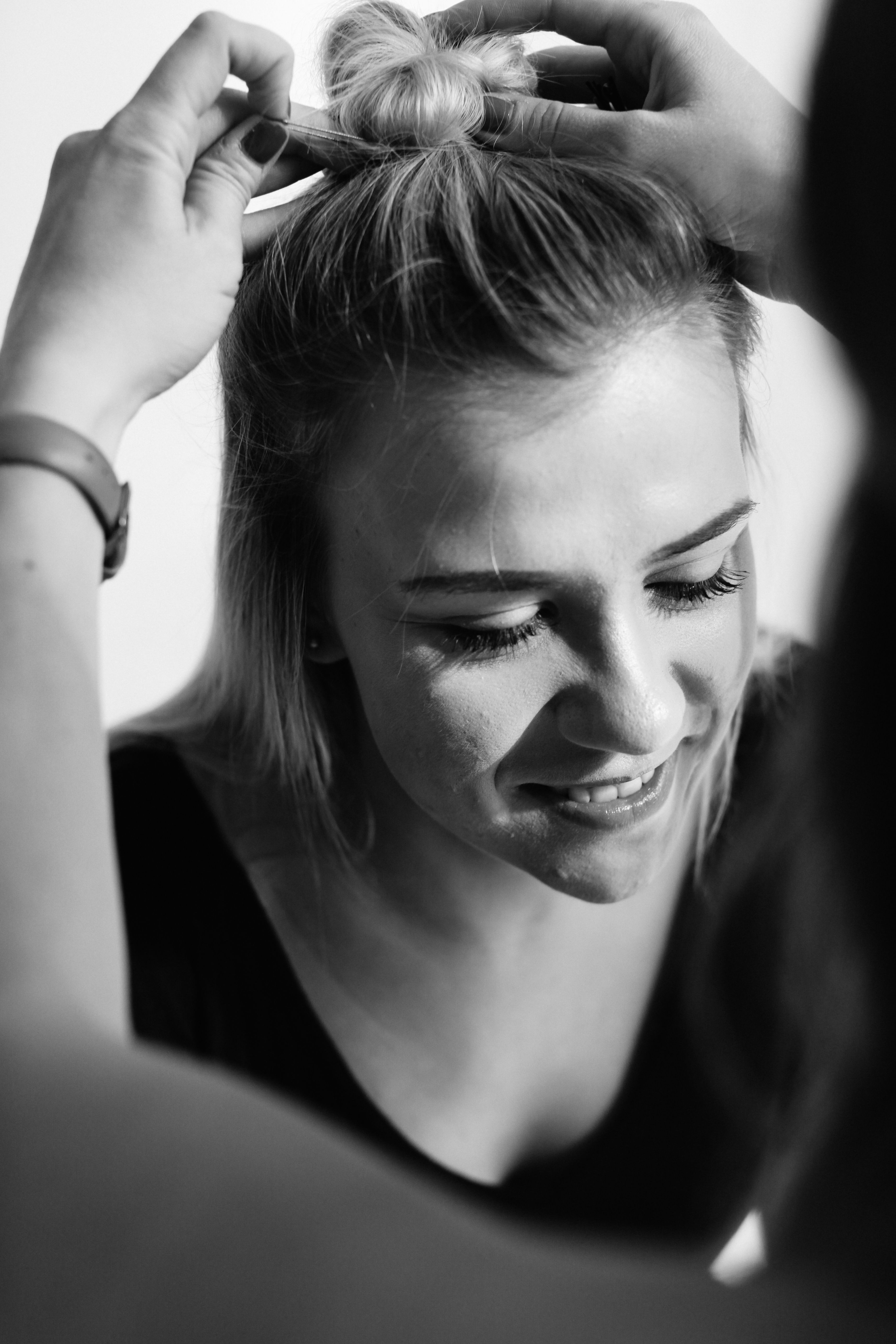 Top knot half up hair Hair by Devin Sutter by Rachel Loewen