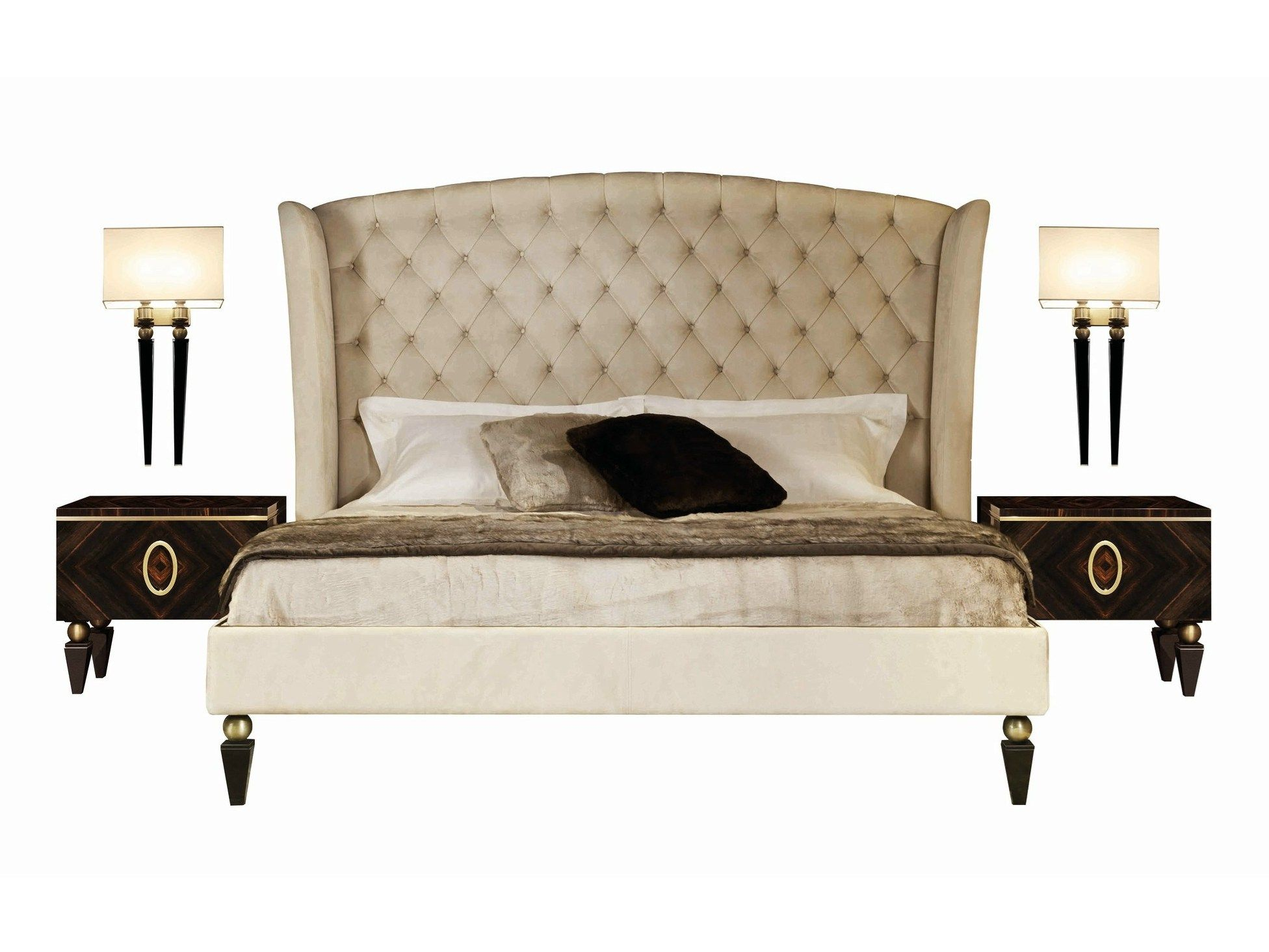 Double bed with tufted headboard KESY by Capital Collection by ...