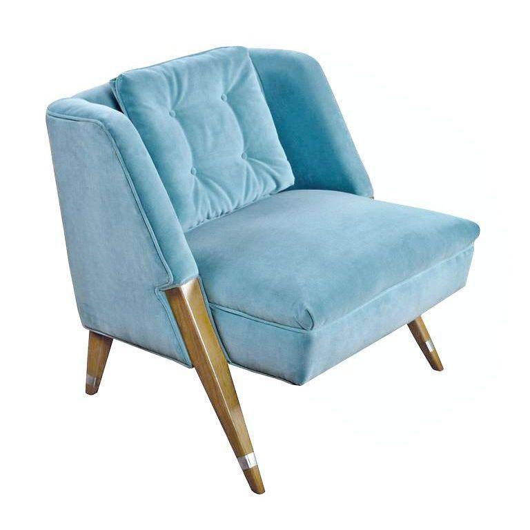 Mid Century Modern Blue Slipper Chairs A Pair - modern blue chair