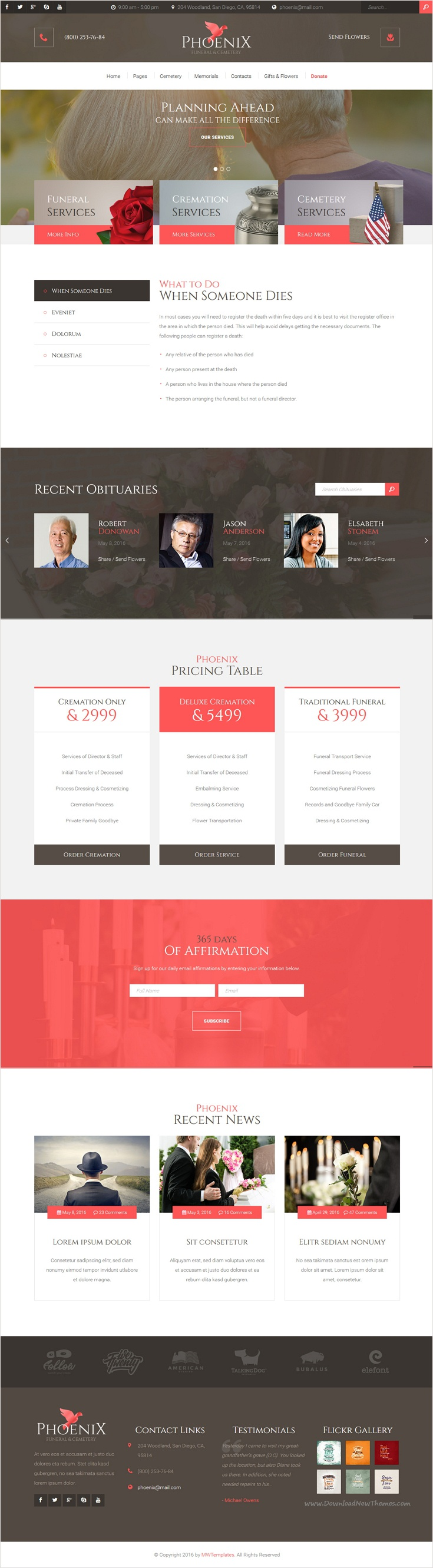 Phoenix - Funeral Service, Funeral Home & Cemetery HTML Template ...