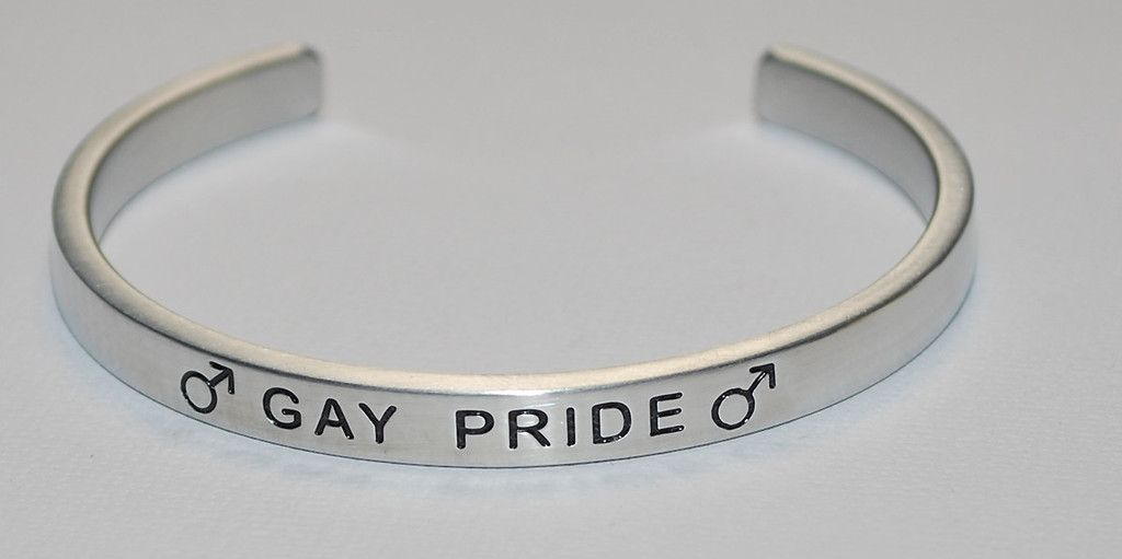 Male Gay Pride Engraved Handmade Bracelet By Say It And Wear It