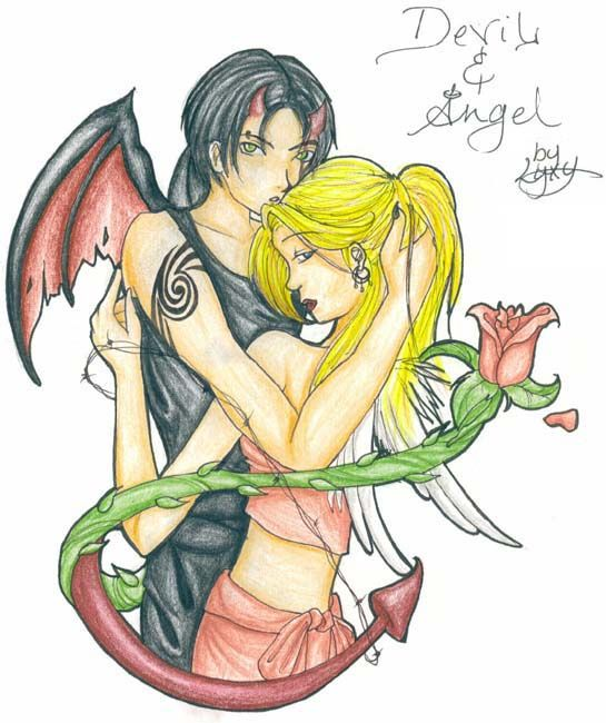 pictures of the devil hugging an angel - Google Search