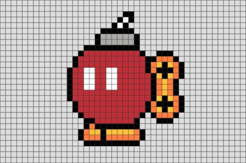 Bob Omb Mario Pixel Art Pixel Art Minecraft Pixel Art