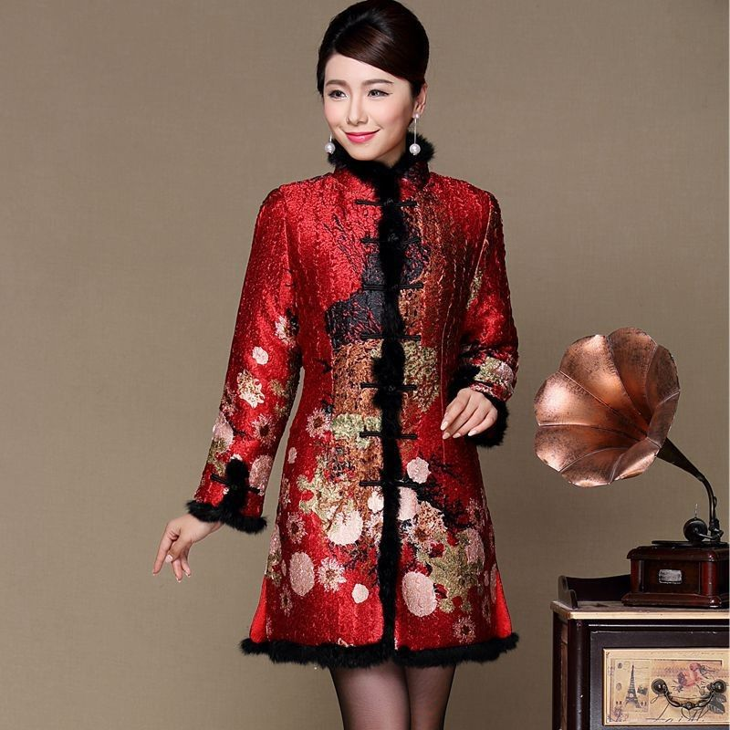 b2680276c Noble Red Pleated Silk Fur Collar & Cuff Chinese Long Wadded Coat -  iDreamMart.com
