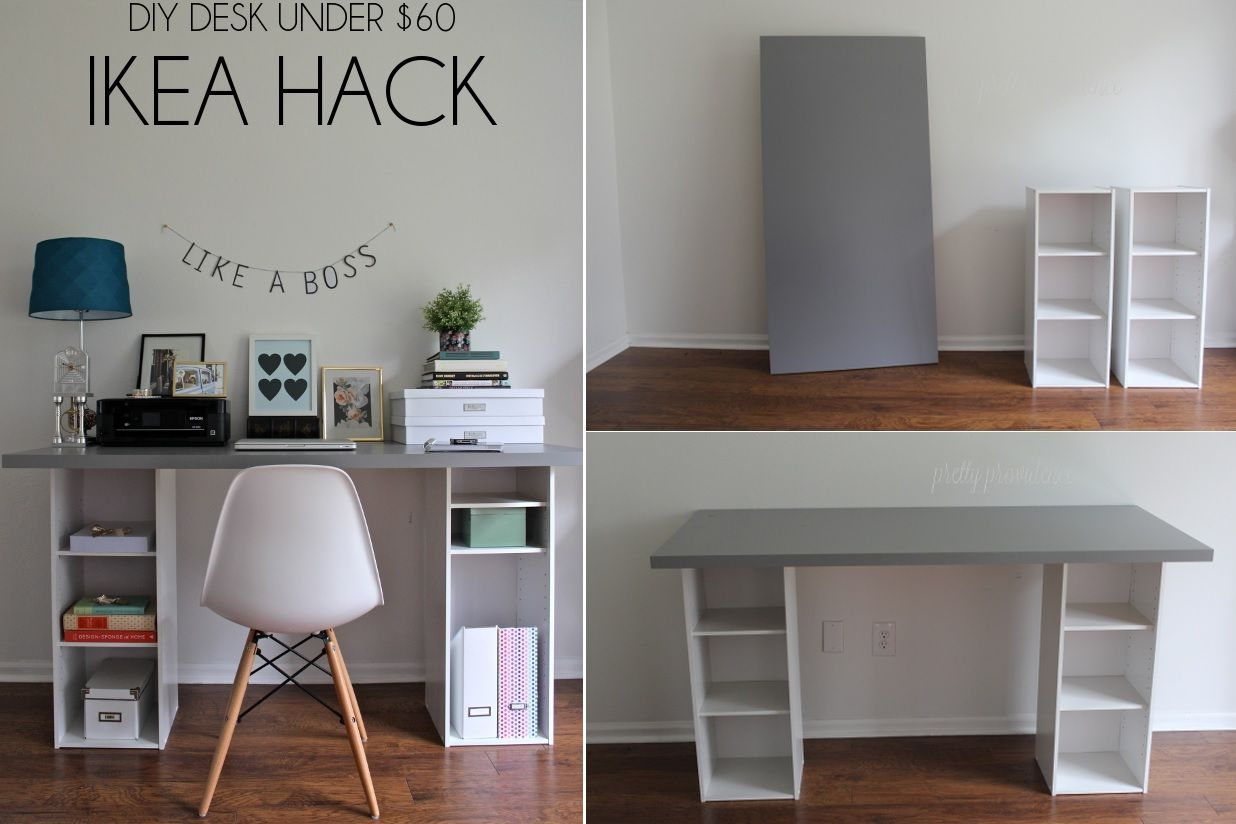 How to Make a DIY Plank Top Ikea Cabinet Desk | Ikea hack desk, Ikea hack  and Plank