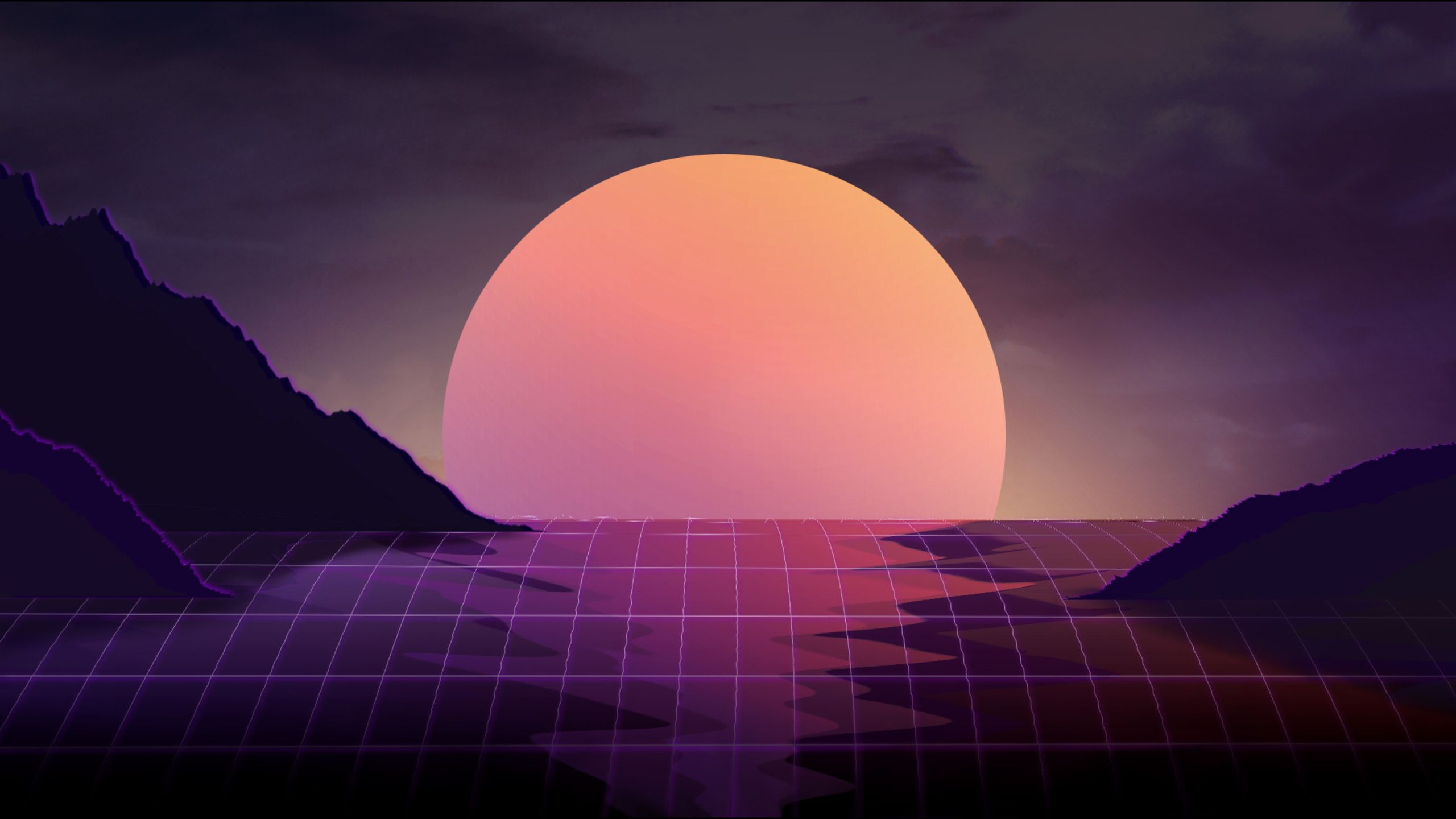 Vaporwave Sunset 2560x1440 Wallpapers In 2019