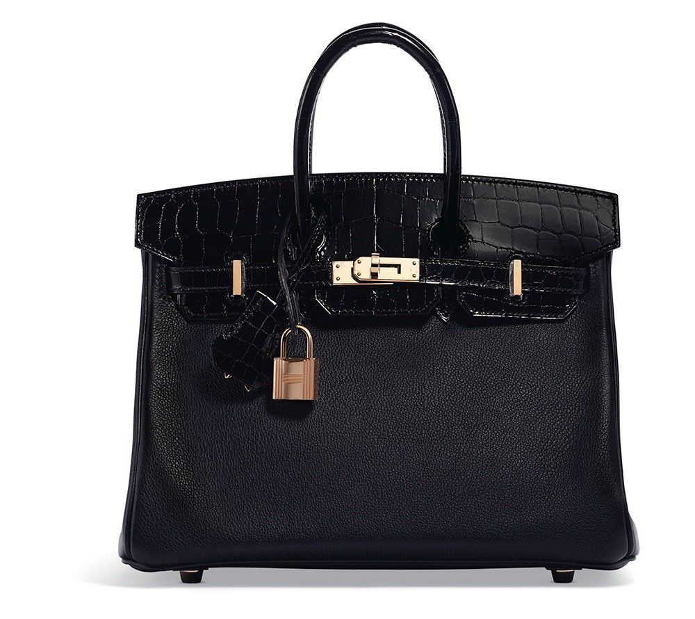 4701c784a80b Hermes Limited Edition Shiny Black Niloticus Crocodile   Black Novillo  Leather Touch Birkin 25 with Rose Gold Hardware