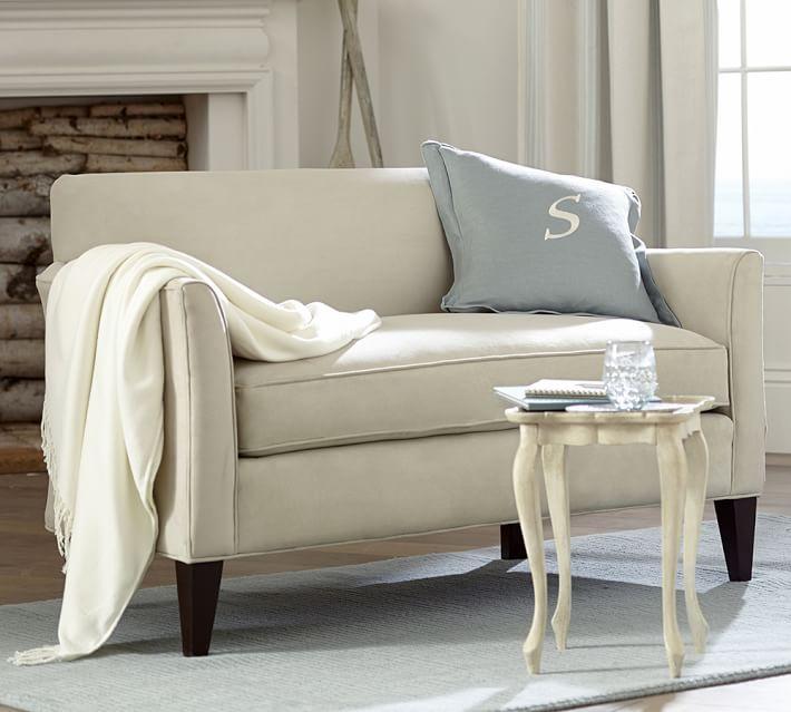 Marcel Upholstered Mini Sofa   PB - CONDO   SMALL SPACE ...