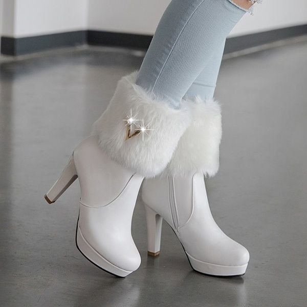 The spring and autumn female single boots boots with thick high-heeled head in the autumn and winter side zipper | Wish