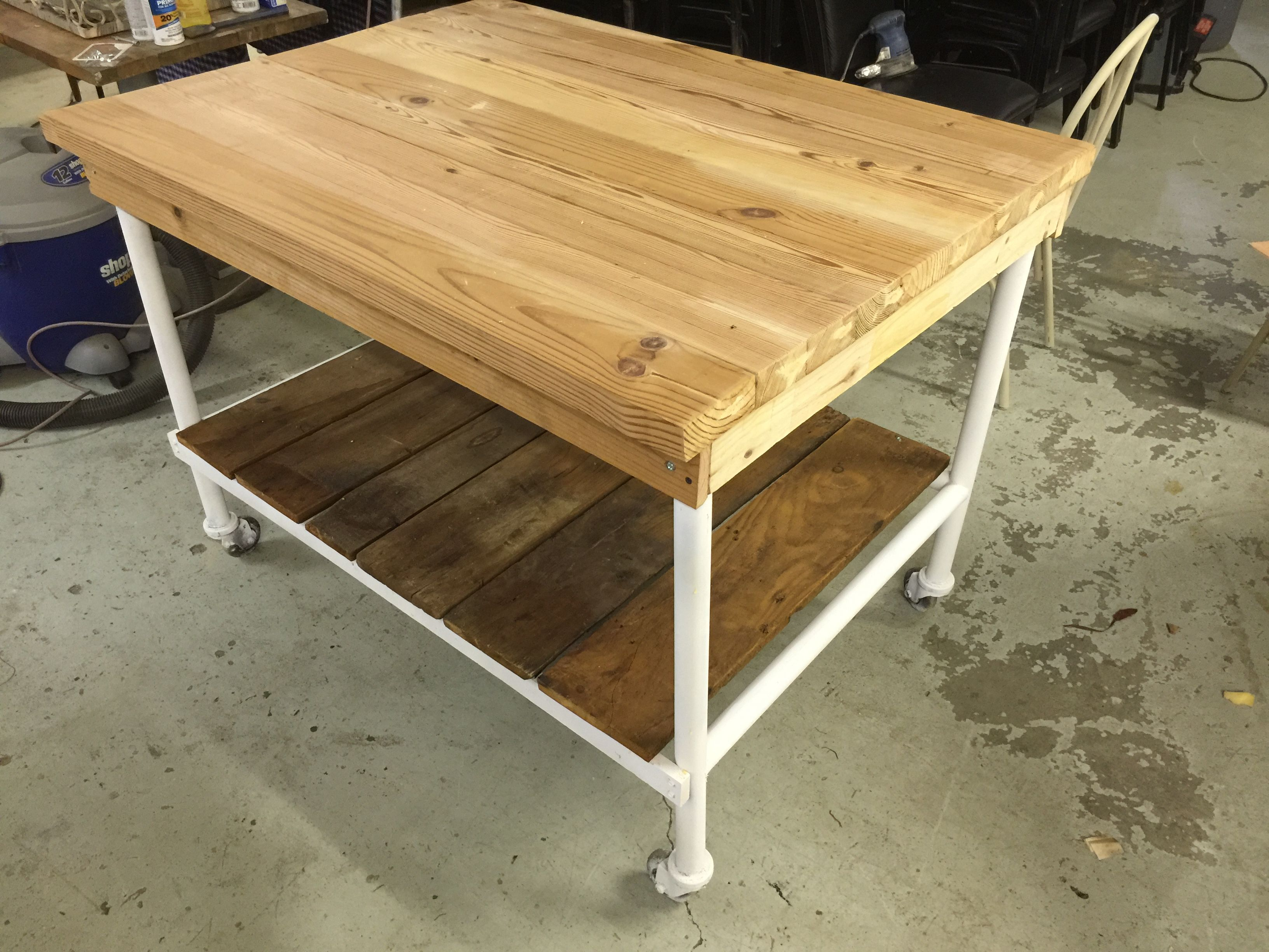 Custom built repurposed upcycled Kitchen Island Table made using
