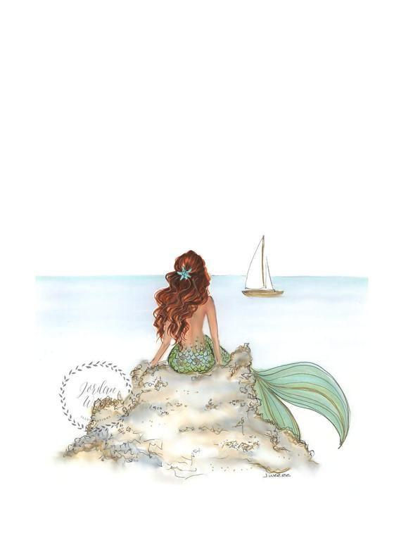 Mermaid Rock Red Head | Mermaid Art | Mermaid Decor | Mermaid Wall Art | Mermaid Print | Mermaid Art Print | Bathroom Art | Coastal Wall Art