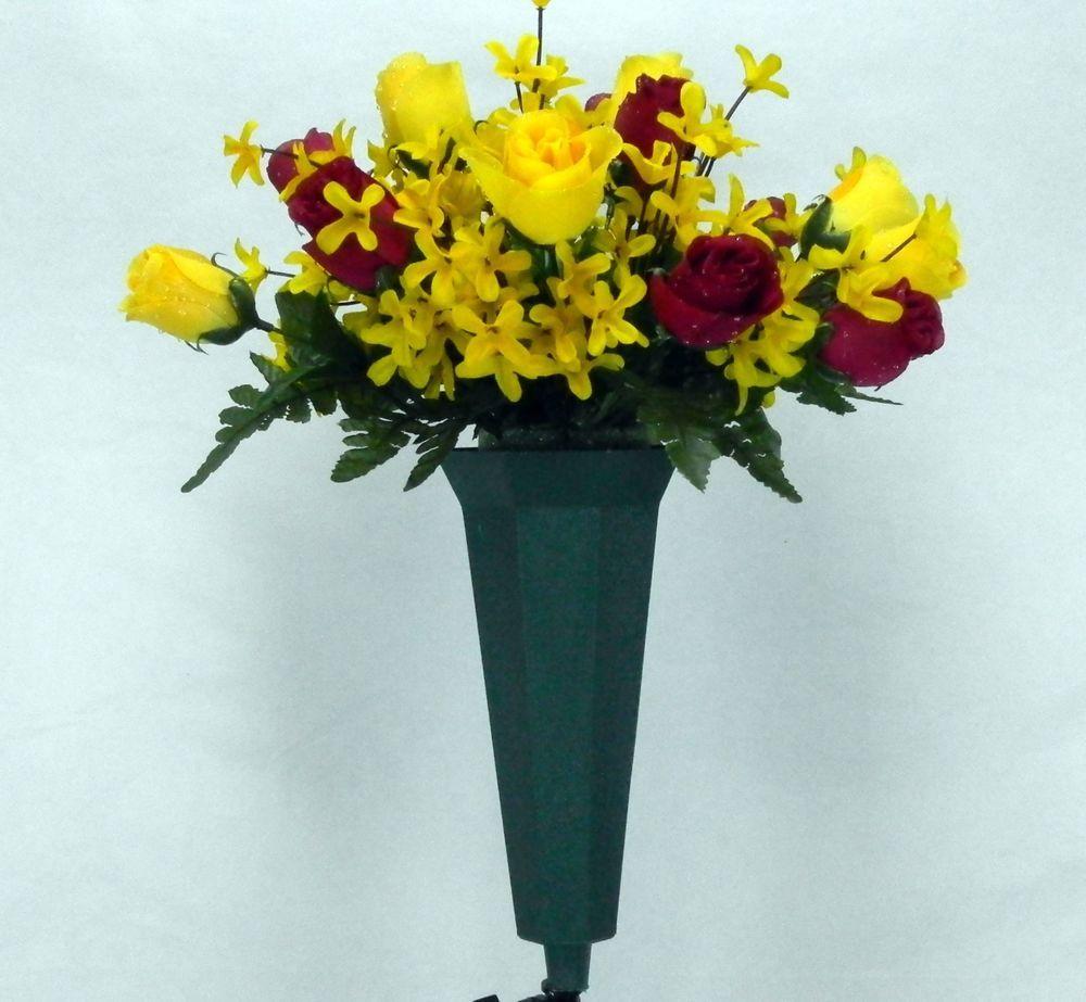 Deluxe mixed bush cemetery flower vase bush cemetery