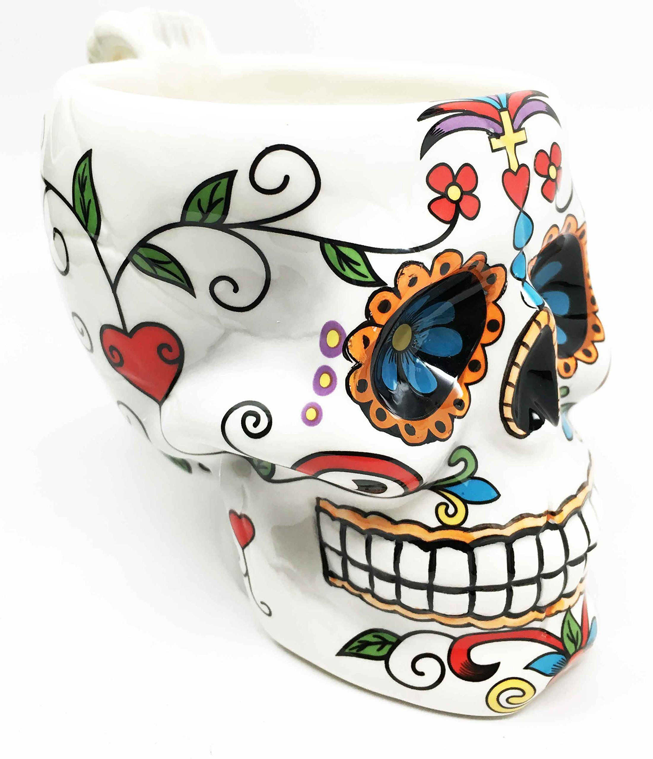 White Tribal Day of The Dead Crucifix Rosario Sugar Skull Drink