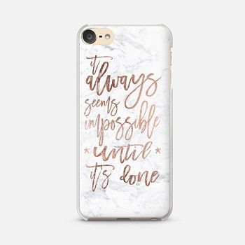 Ipod Touch 6 Case Modern Rose Gold Typography Quote Awlays Seems Impossible Until It S Done White Marble B Ipod Touch Cases Ipod Touch 6 Cases Girl Phone Cases