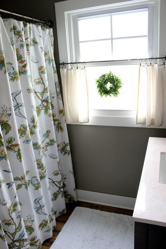 I Love The Little Wreath And The Neutral Airy Curtains That Allow - Cafe curtains for bathroom for bathroom decor ideas