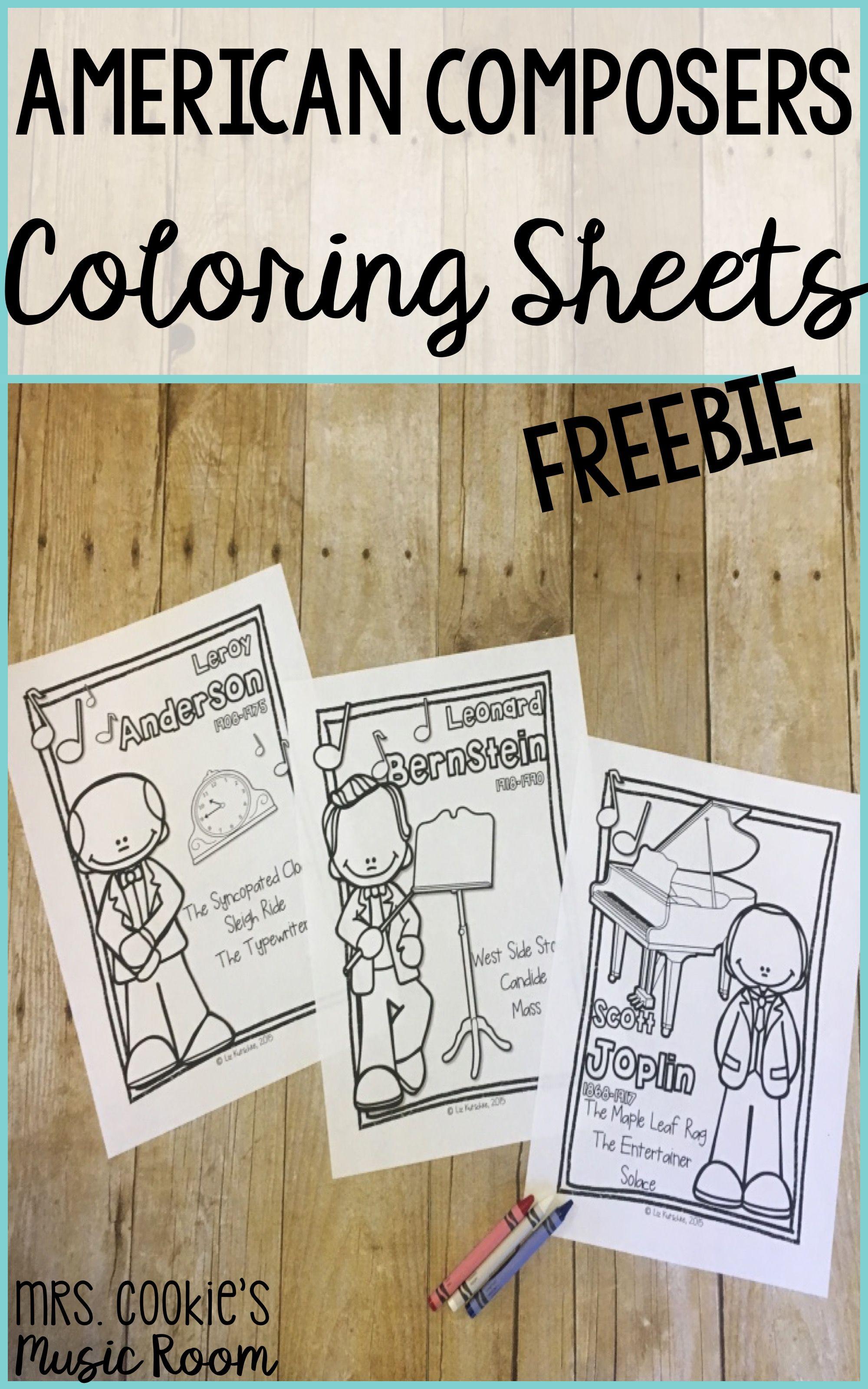 FREEBIE American Composer Coloring Sheets Color