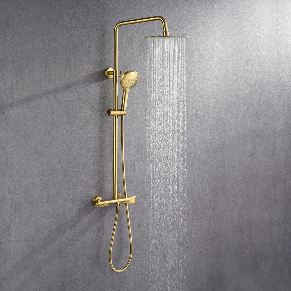 Modern Luxury Exposed Shower System Thermostatic 10 Shower Systems Rainfall Shower Head Rainfall Shower