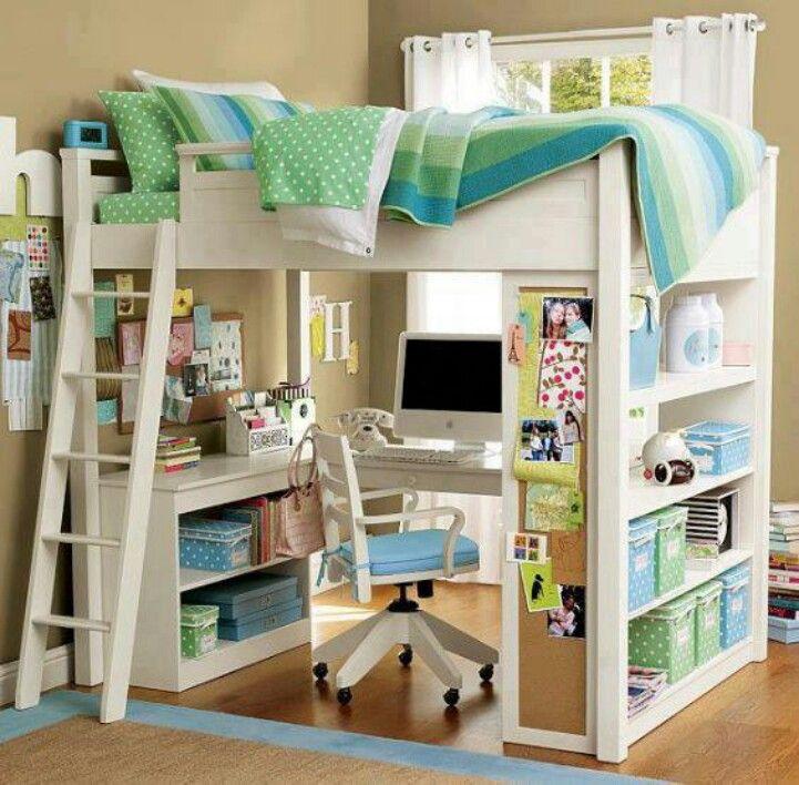 Todo en espacio pequeño para niño o niña diseño Pinterest
