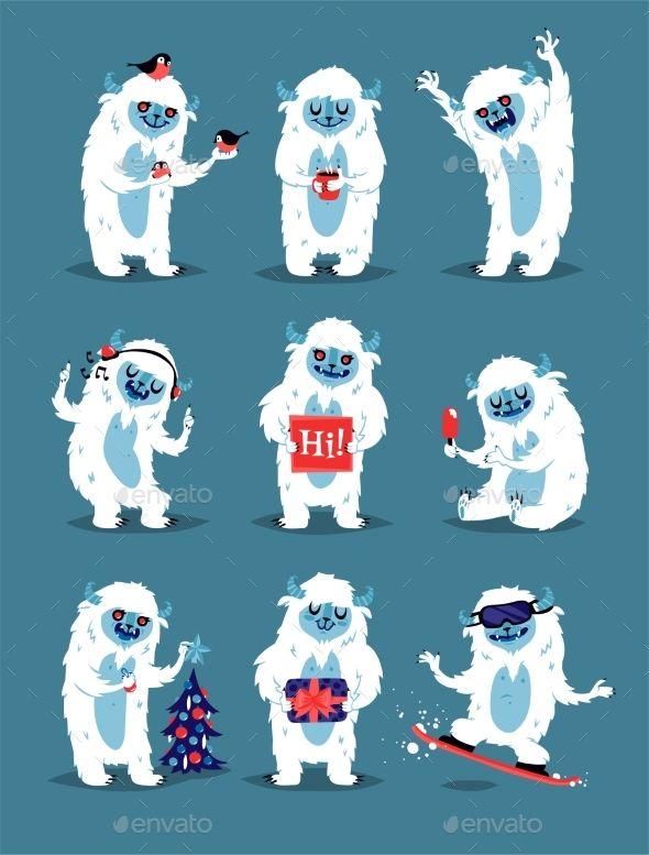 Yeti Abominable Snowman Bigfoot Sasquatch Monster Characters Bigfoot Drawing Bigfoot Illustration