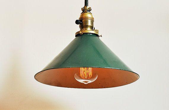 Milieu du si¨cle vert plafond douille de lampe abat jour vert et