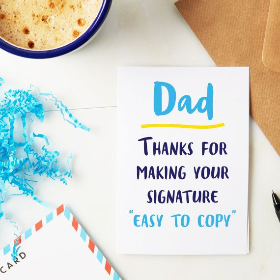 Dad signature card Fathers day card funny fathers day card – Funny Birthday Card Signatures