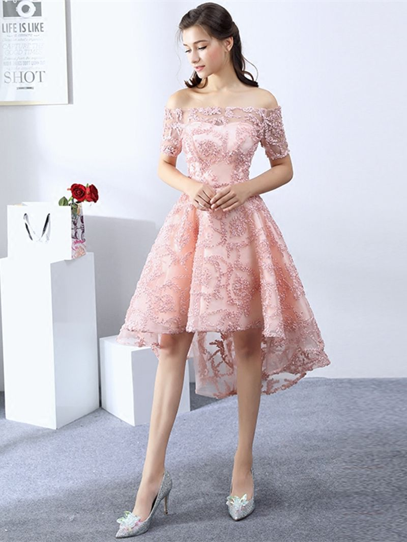Nice A-Line Off-the-Shoulder Lace Short Sleeves Asymmetry Homecoming ...