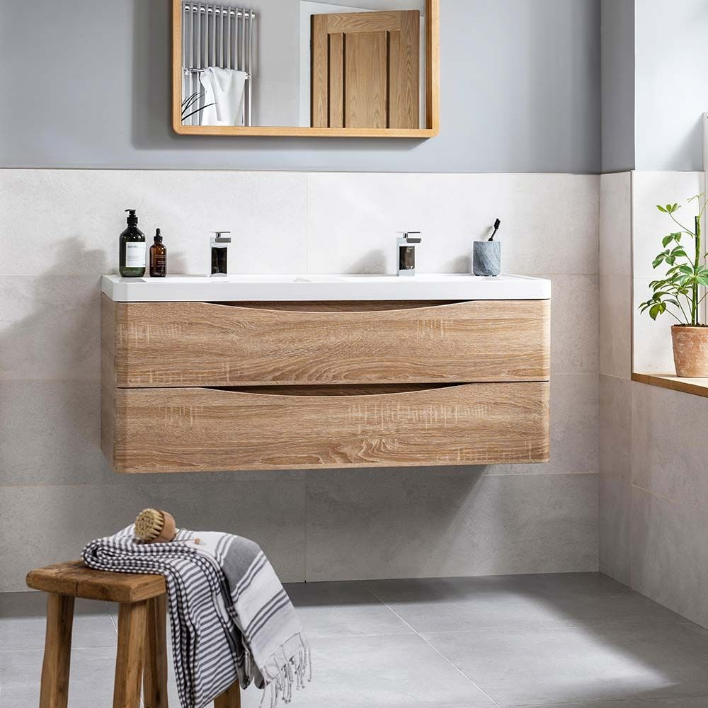 Harbour Clarity 1200mm Wall Mounted Vanity Unit Double Basin In 2020 Basin Vanity Unit Wooden Bathroom Vanity Bathroom Vanity Units